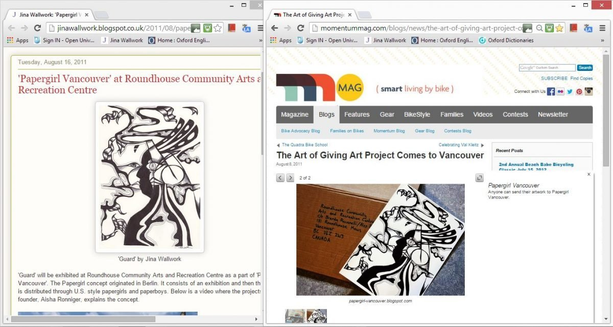 2011 Papergirl vancouver (web cuttings)