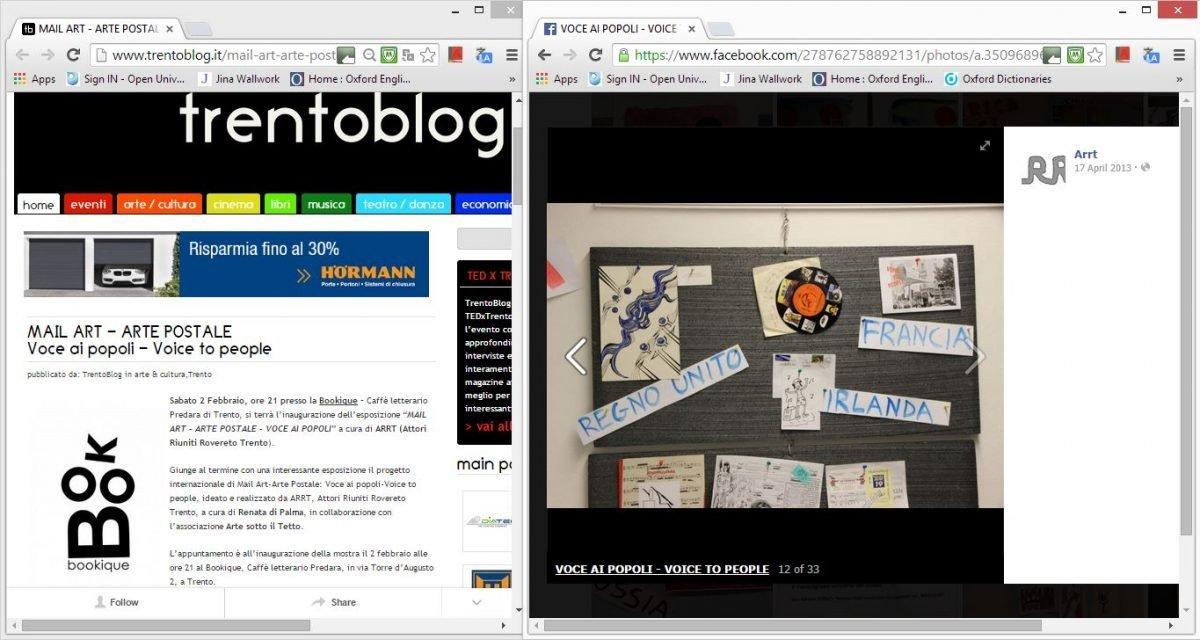 2013 arte postale exhibition (web clippings)
