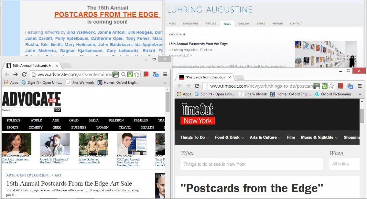 2014 postcards from the edge (web clippings)