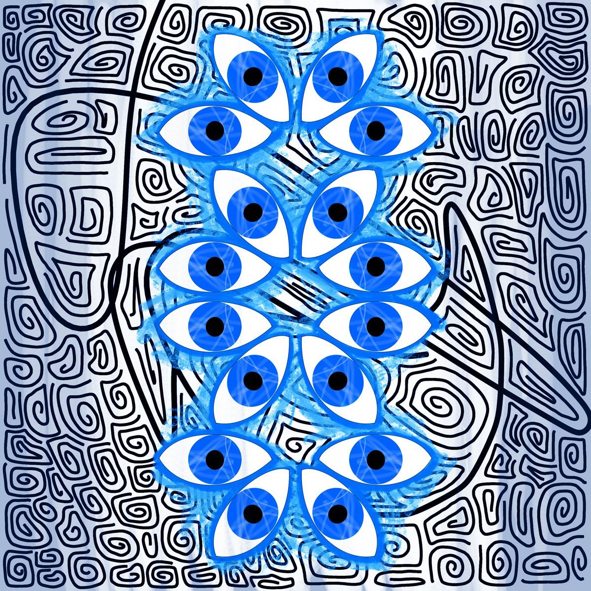 The image shows a piece of artwork by Jina Wallwork. It is a digital painting of eyes. Stylistically this piece of artwork has links with abstract art.