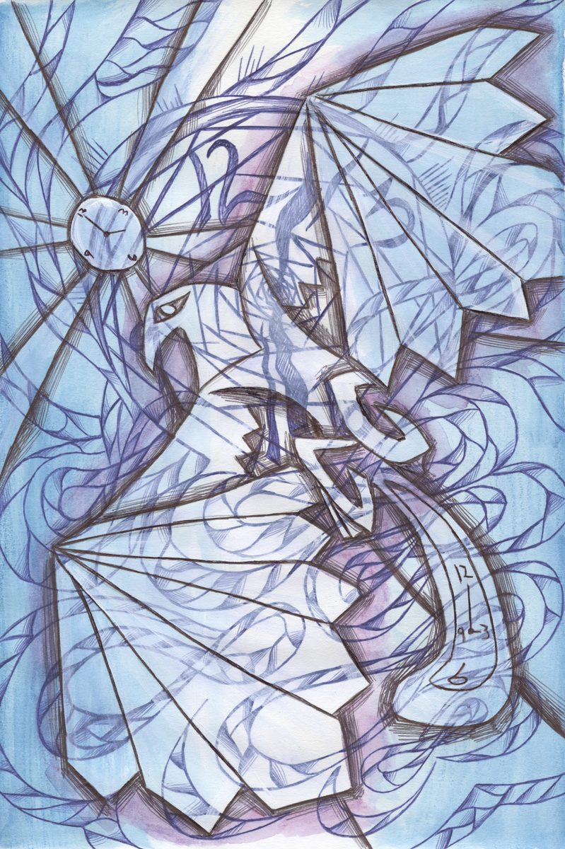 The image shows a piece of artwork by Jina Wallwork. It is a painting and an ink drawing of a bird. Stylistically this piece of artwork has links with expressionism and surrealism.