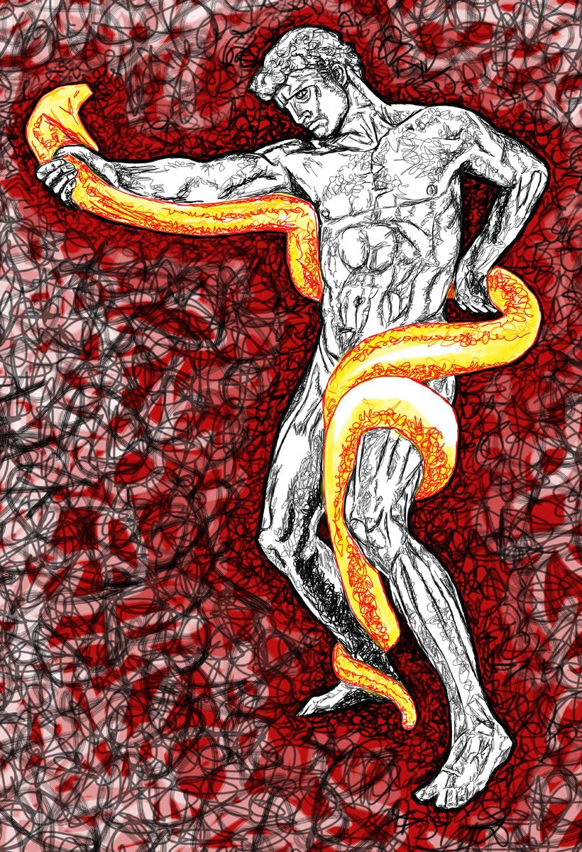 The image shows a piece of artwork by Jina Wallwork. It is a digital painting of a man and a snake. Stylistically this piece of artwork has links with expressionism.