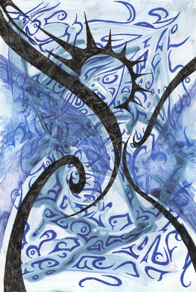 The image shows a piece of artwork by Jina Wallwork. It is a painting and an ink drawing of an hour glass with the sun inside. Stylistically this piece of artwork has links with expressionism and surrealism.