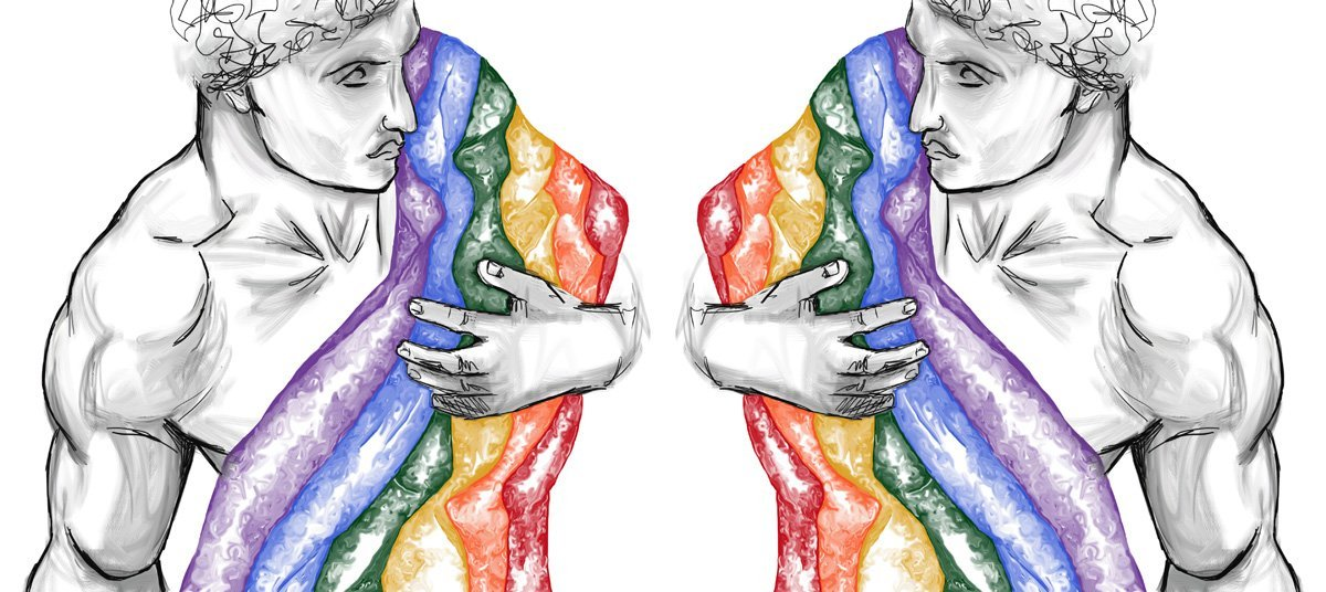 The image shows a piece of artwork by Jina Wallwork. It is a digital painting of two men carrying the gay pride flag. Stylistically this piece of artwork has links with expressionism and realism.