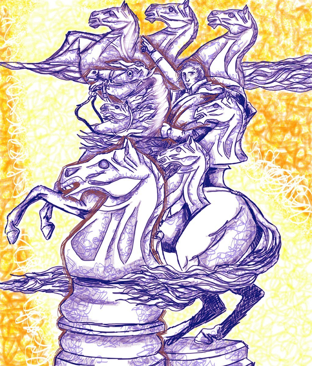 The image shows a piece of artwork by Jina Wallwork. It is a digital drawing of a man, some horses, and the knight chess pieces. Stylistically this piece of artwork has links with surrealism.