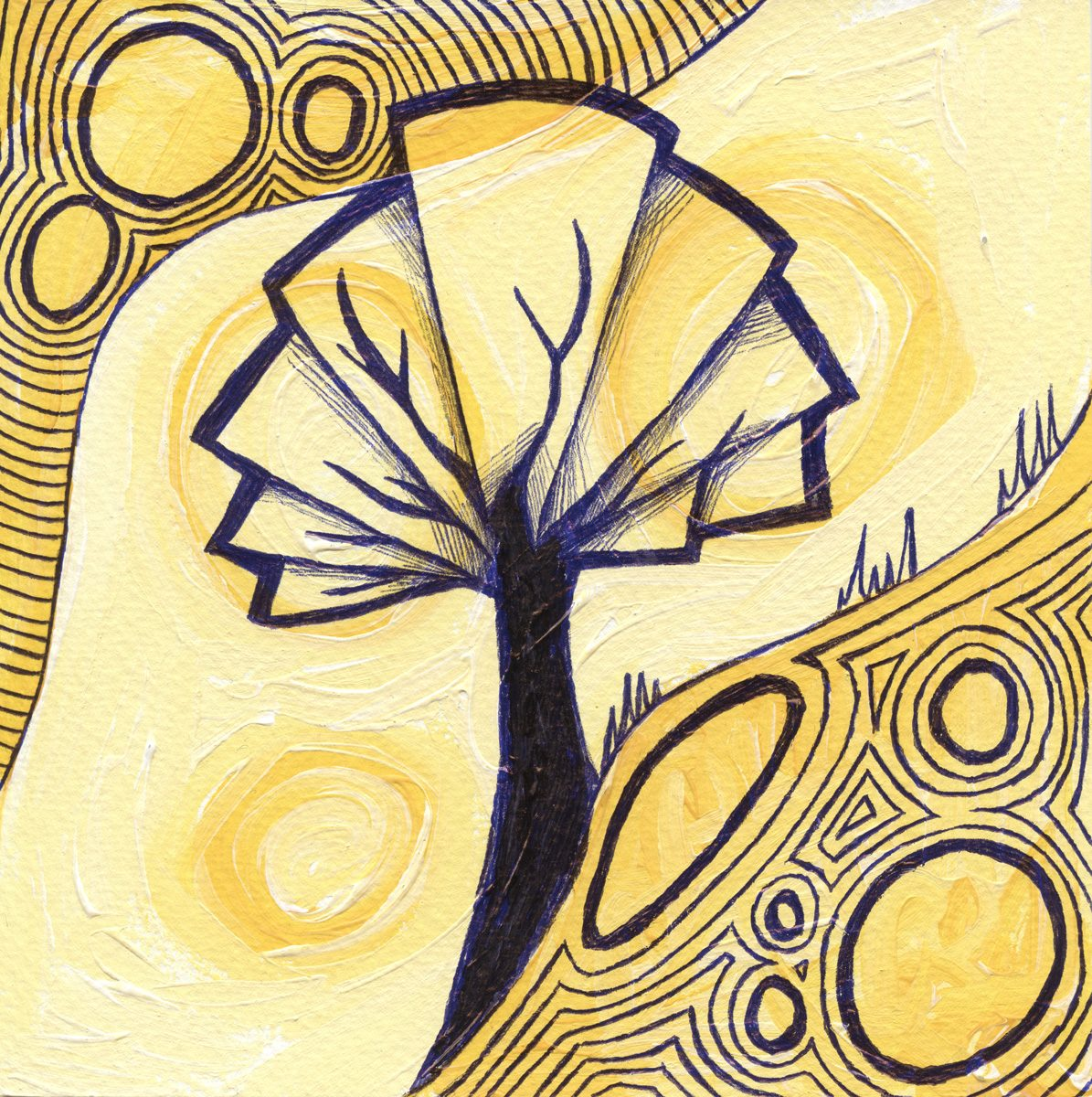 The image shows a piece of artwork by Jina Wallwork. It is a painting and an ink drawing of a tree. Stylistically this piece of artwork has links with expressionism.