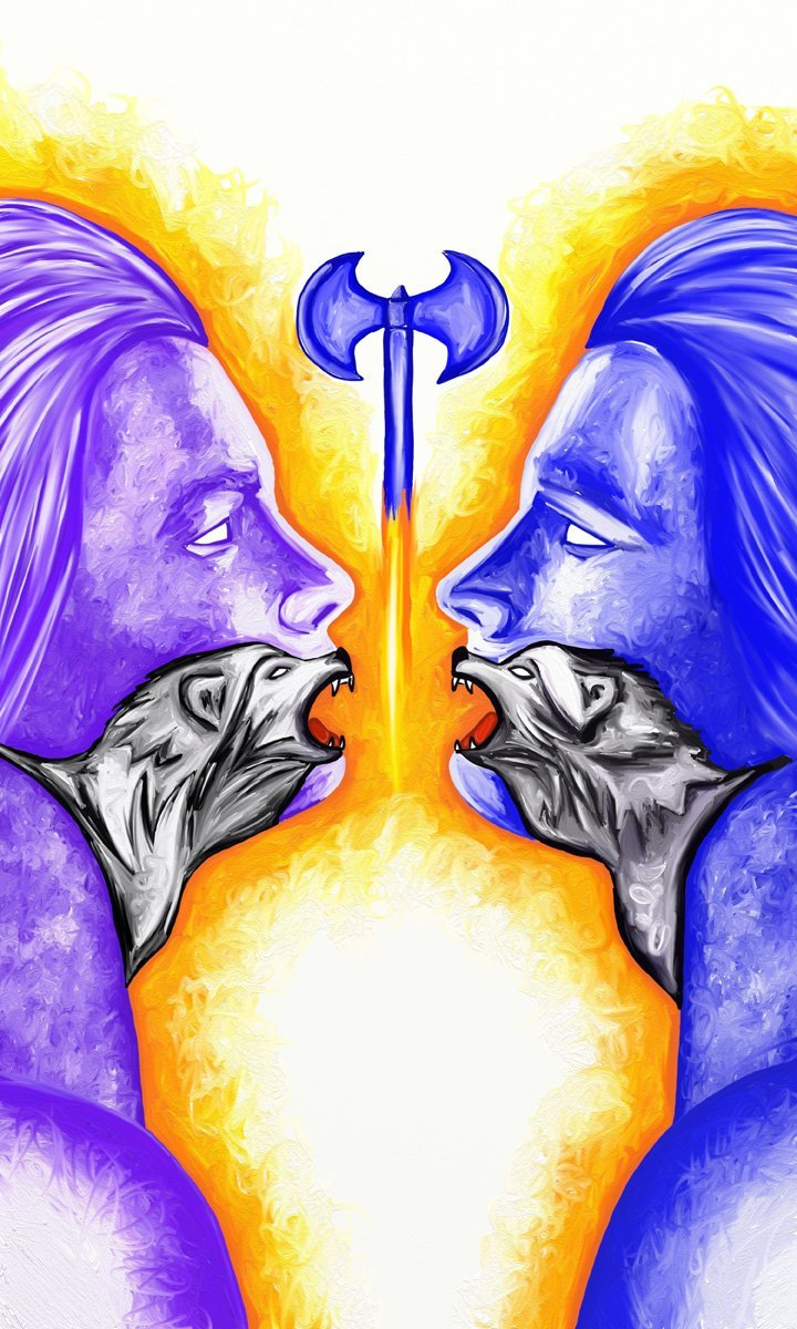 The image shows a piece of artwork by Jina Wallwork. It is a digital painting of two people and two wolves. Stylistically this piece of artwork has links with surrealism.