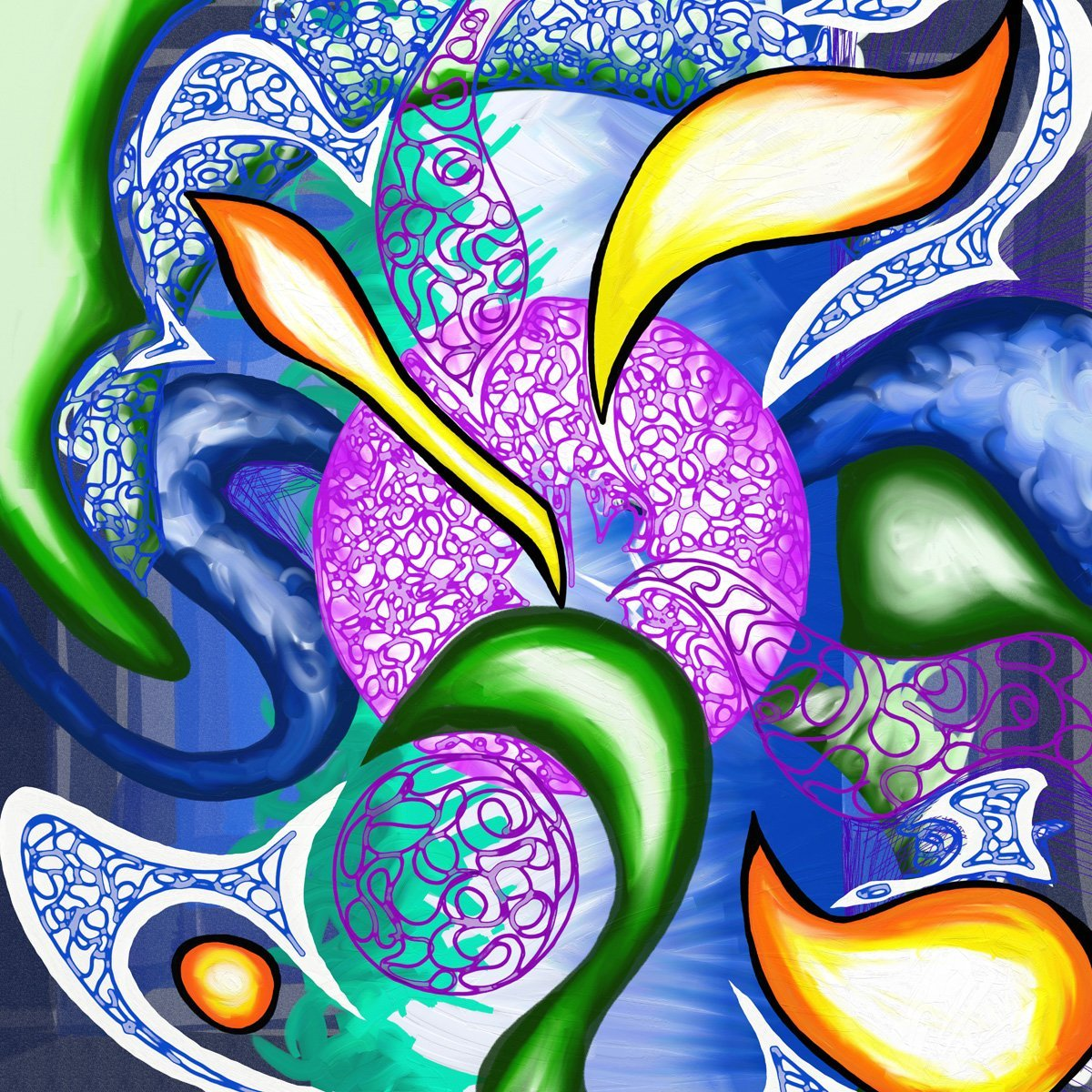 The image shows a piece of artwork by Jina Wallwork. It is a digital painting with abstract subject matter. Stylistically this piece of artwork has links with abstract art.