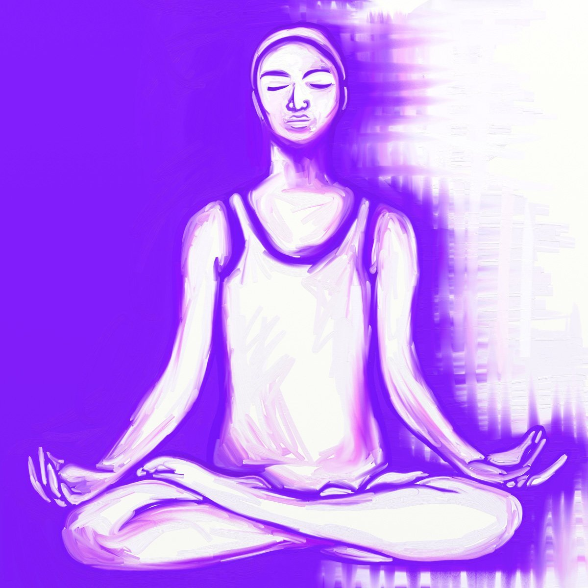 The image shows a piece of artwork by Jina Wallwork. It is a digital painting of a person meditating. Stylistically this piece of artwork has links with expressionism.