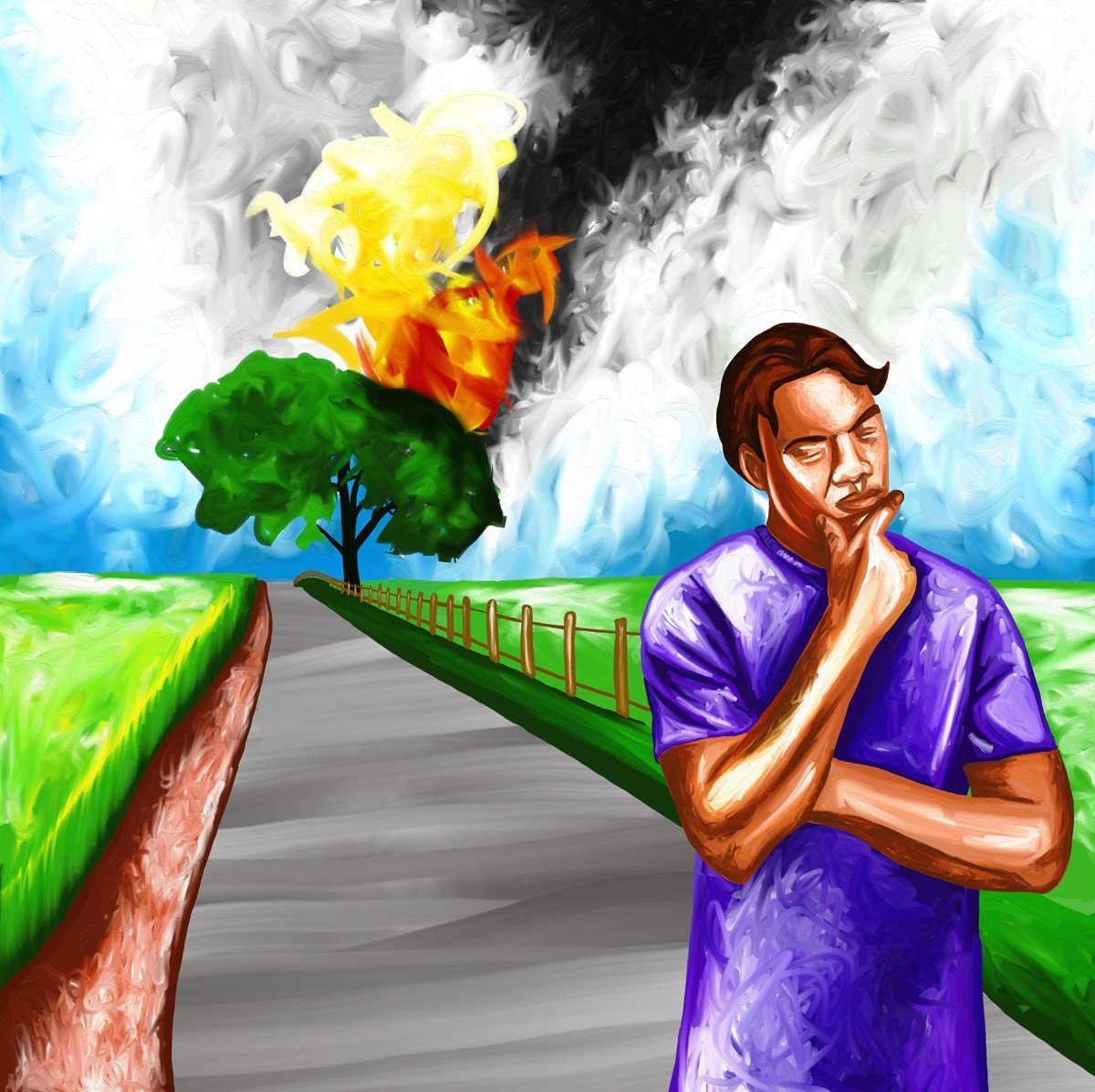The image shows a piece of artwork by Jina Wallwork. It is a digital painting of a person walking away from a burning tree. Stylistically this piece of artwork has links with expressionism.