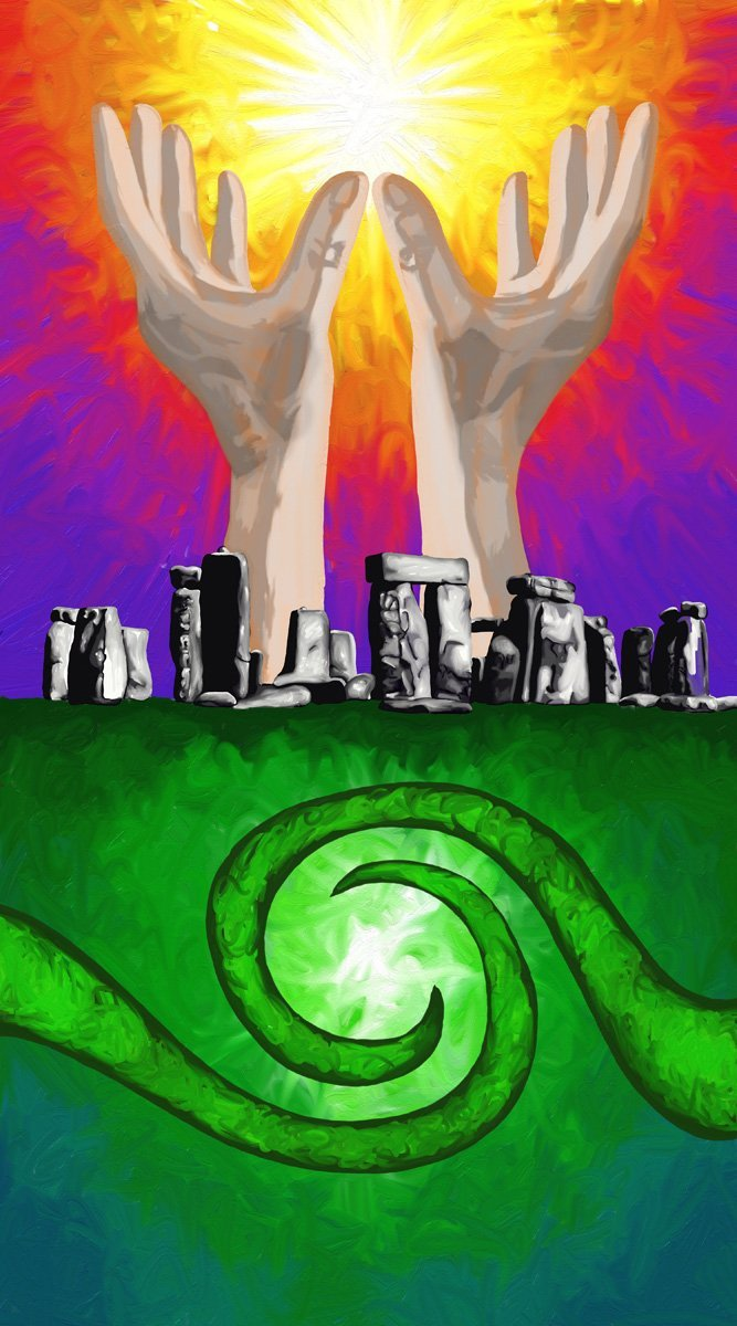 The image shows a piece of artwork by Jina Wallwork. It is a digital painting of hands and stonehenge. Stylistically this piece of artwork has links with surrealism.