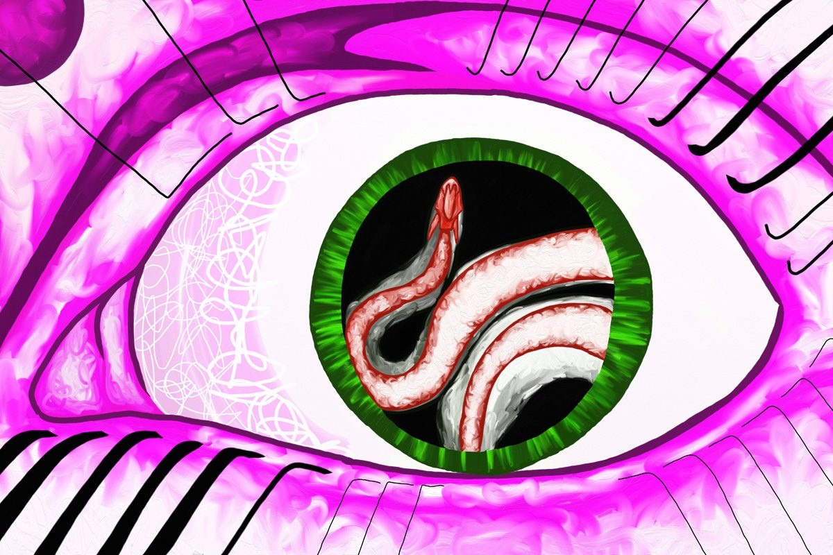 The image shows a piece of artwork by Jina Wallwork. It is a digital painting of a snake and an eye. Stylistically this piece of artwork has links with surrealism.