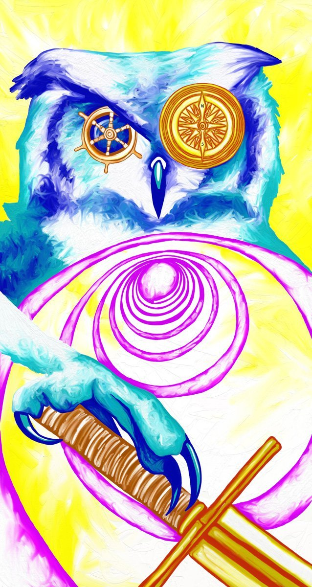 The image shows a piece of artwork by Jina Wallwork. It is a digital painting of an owl. Stylistically this piece of artwork has links with surrealism.