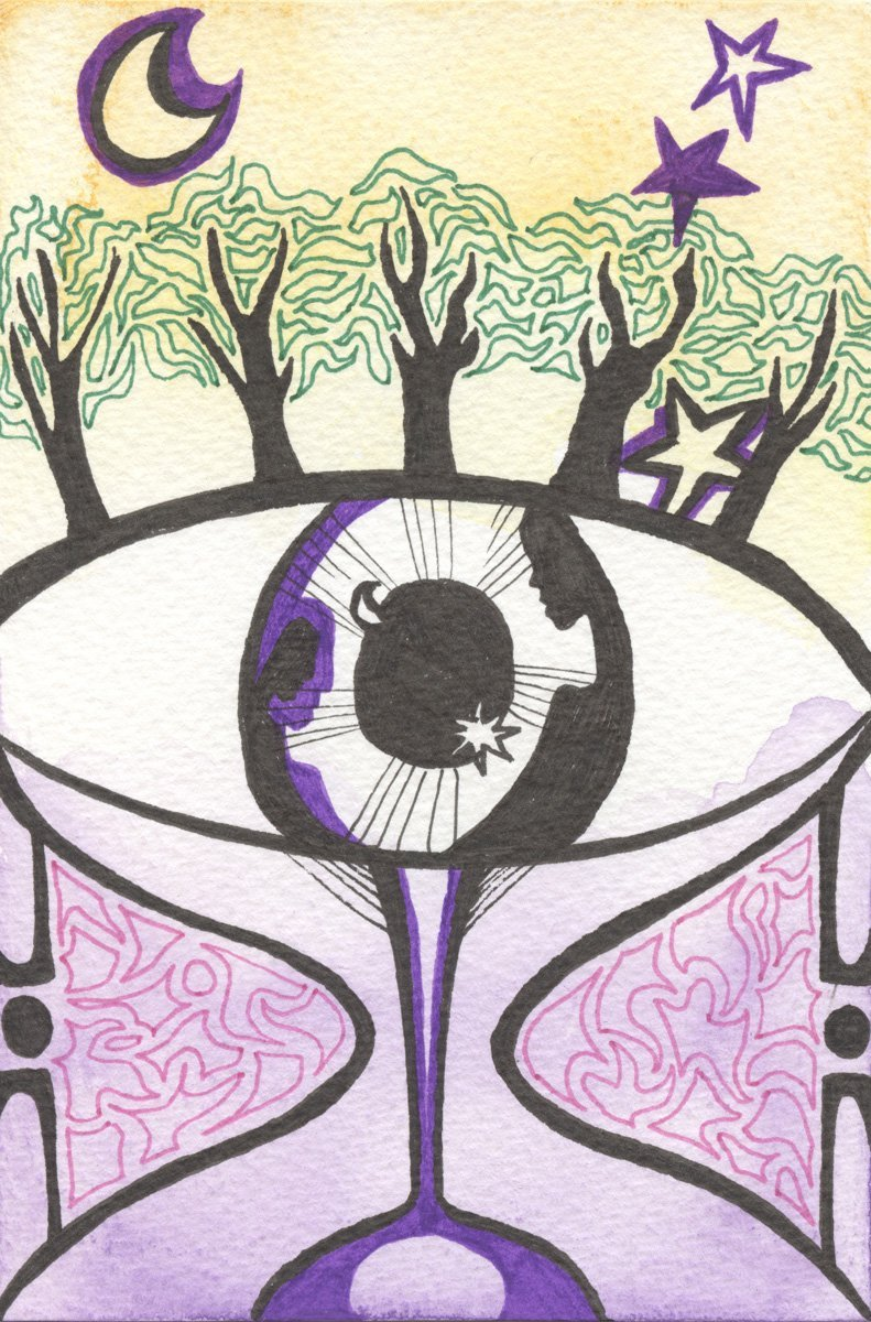 The image shows a piece of artwork by Jina Wallwork. It is a ink and watercolor painting of a people, trees, an eye, and an hour glass. Stylistically this piece of artwork has links with surrealism.