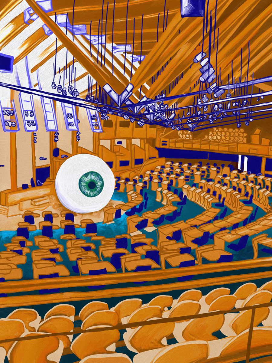 The image shows a piece of artwork by Jina Wallwork. It is a digital painting of the inside of the scottish parliament building and it also includes a large eye. Stylistically this piece of artwork has links with surrealism.