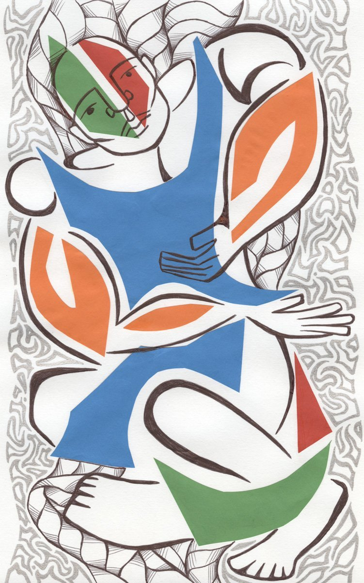 The image shows a piece of artwork by Jina Wallwork. It is an ink drawing of a rugby player. Stylistically this piece of artwork has links with expressionism.
