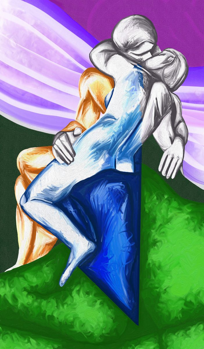 The image shows a piece of artwork by Jina Wallwork. It is a digital painting of 'The Kiss' by Auguste Rodin. Stylistically this piece of artwork has links with expressionism.