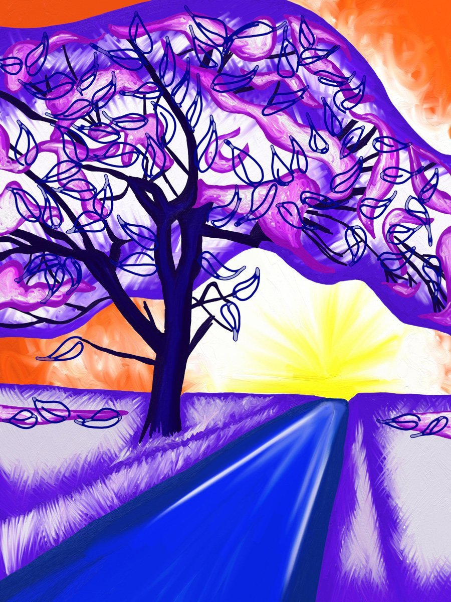 The image shows a piece of artwork by Jina Wallwork. It is a digital painting of a tree and a path. Stylistically this piece of artwork has links with expressionism.