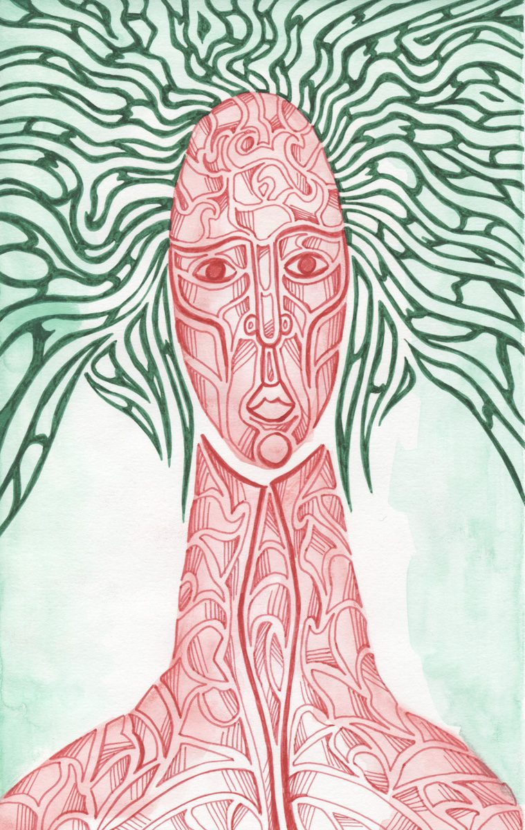The image shows a piece of artwork by Jina Wallwork. It is an ink and watercolor drawing of a person. Stylistically this piece of artwork has links with expressionism.