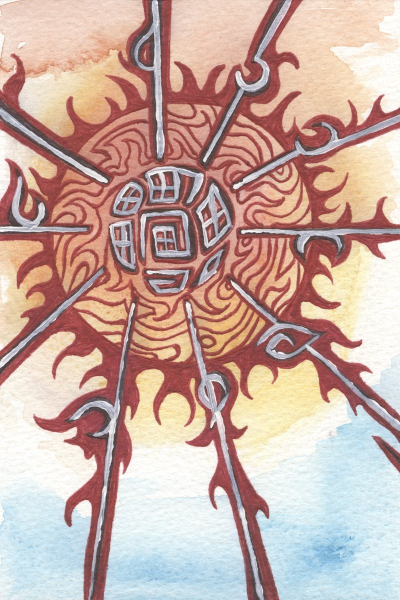The image shows a piece of artwork by Jina Wallwork. It is an ink, paint and watercolor drawing of the sun. Stylistically this piece of artwork has links with expressionism and abstract art.