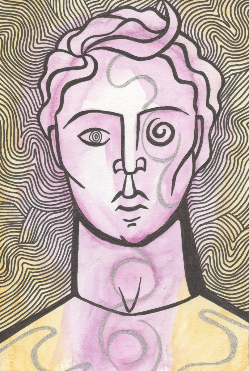 The image shows a piece of artwork by Jina Wallwork. It is a ink and watercolor painting of a person. Stylistically this piece of artwork has links with expressionism.