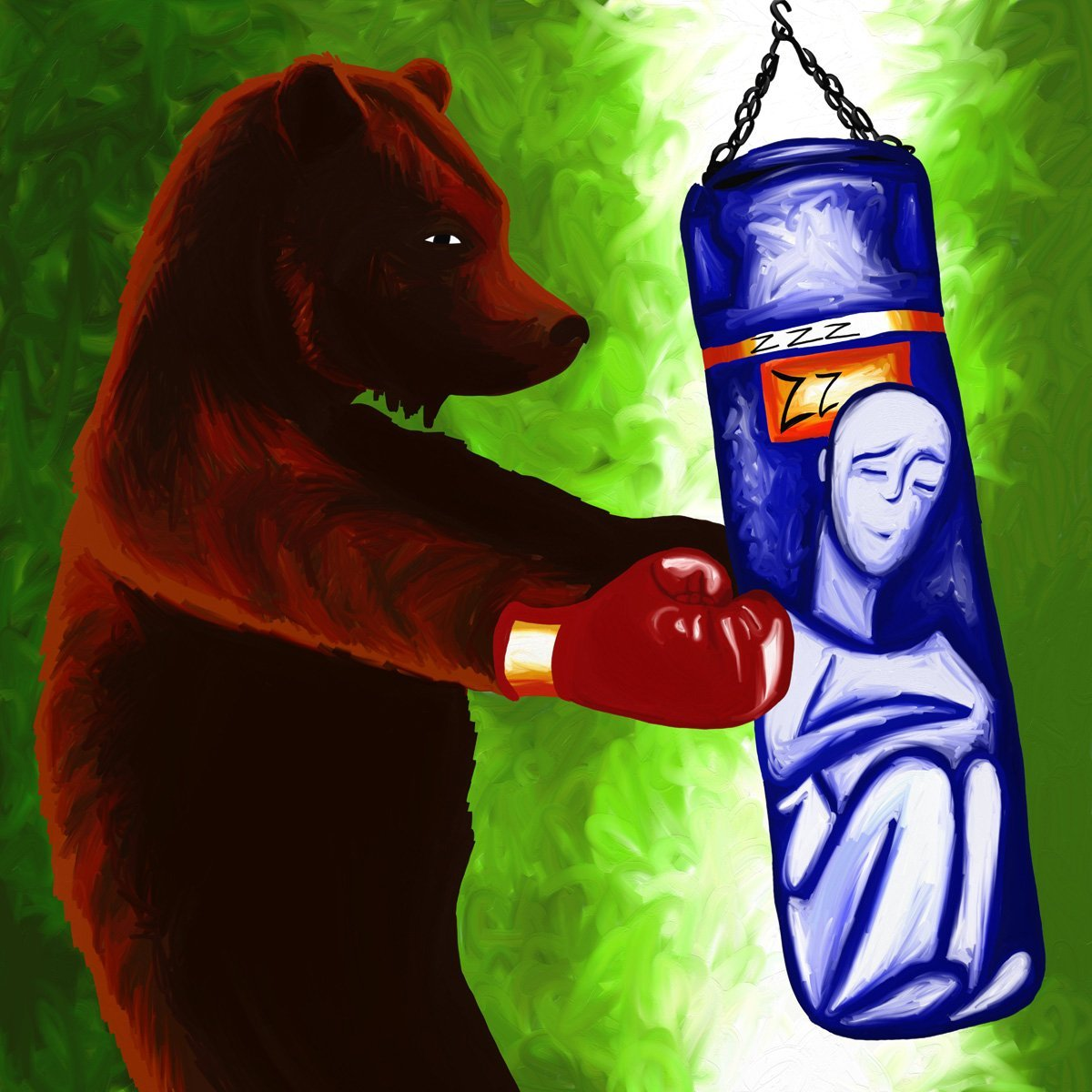 The image shows a piece of artwork by Jina Wallwork. It is a drawing of a person in a punch bag and a bear in boxing gloves. Stylistically this piece of artwork has links with expressionism and surrealism.