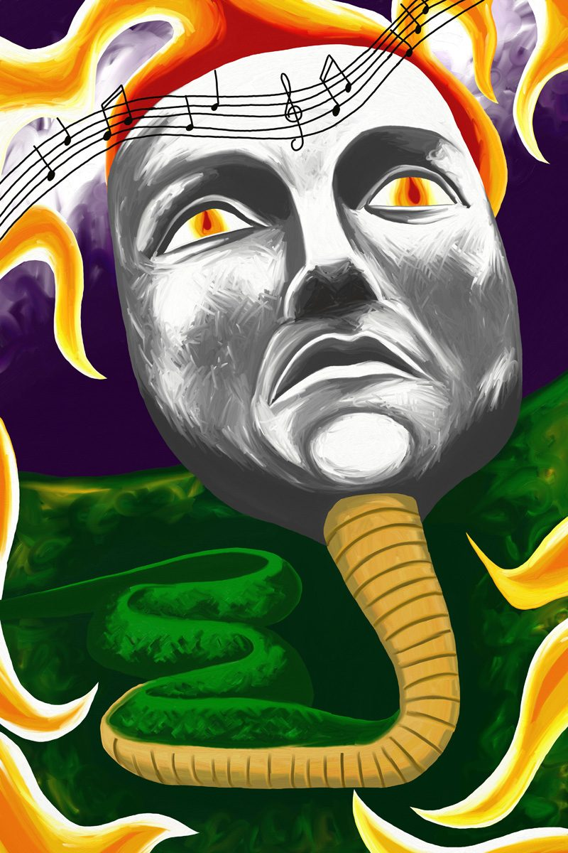The image shows a piece of artwork by Jina Wallwork. It is a digital painting of a snake with a human face listening to music. Stylistically this piece of artwork has links with surrealism.