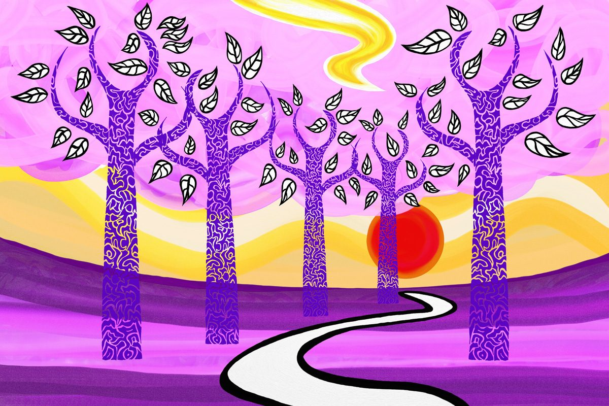 The image shows a piece of artwork by Jina Wallwork. It is a digital painting of some trees, the sun, and a path. Stylistically this piece of artwork has links with expressionism.
