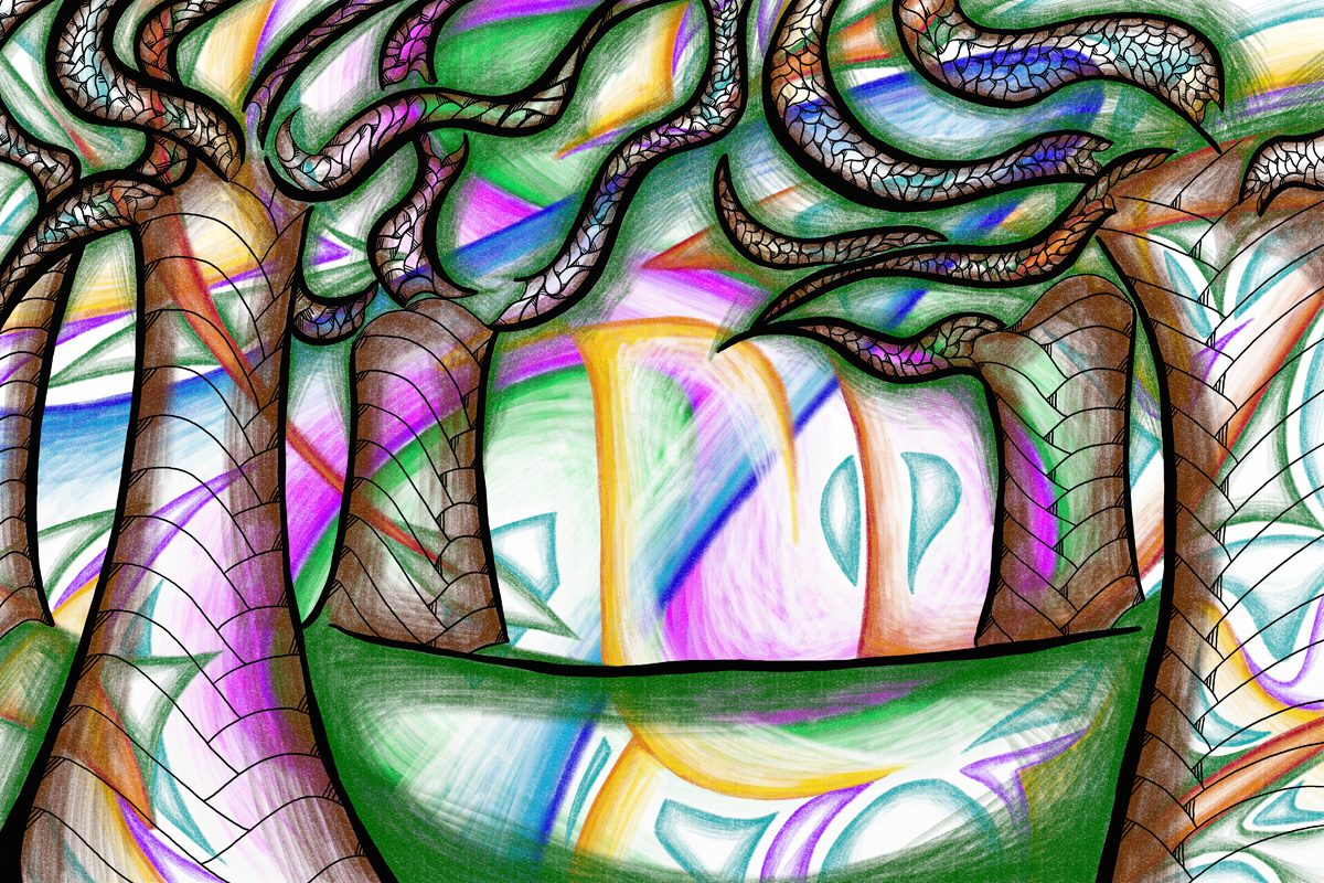 The image shows a piece of artwork by Jina Wallwork. It is a digital drawing of some trees. Stylistically this piece of artwork has links with expressionism.
