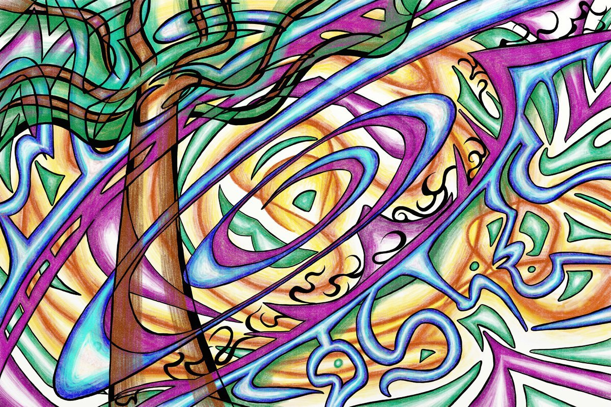 The image shows a piece of artwork by Jina Wallwork. It is a digital drawing of a tree. Stylistically this piece of artwork has links with expressionism.