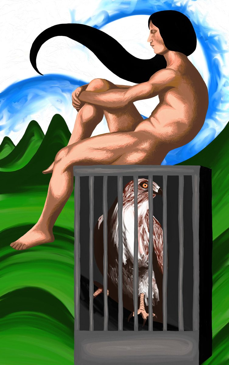 The image shows a piece of artwork by Jina Wallwork. It is a drawing of a person and a bird in a cage. Stylistically this piece of artwork has links with expressionism.