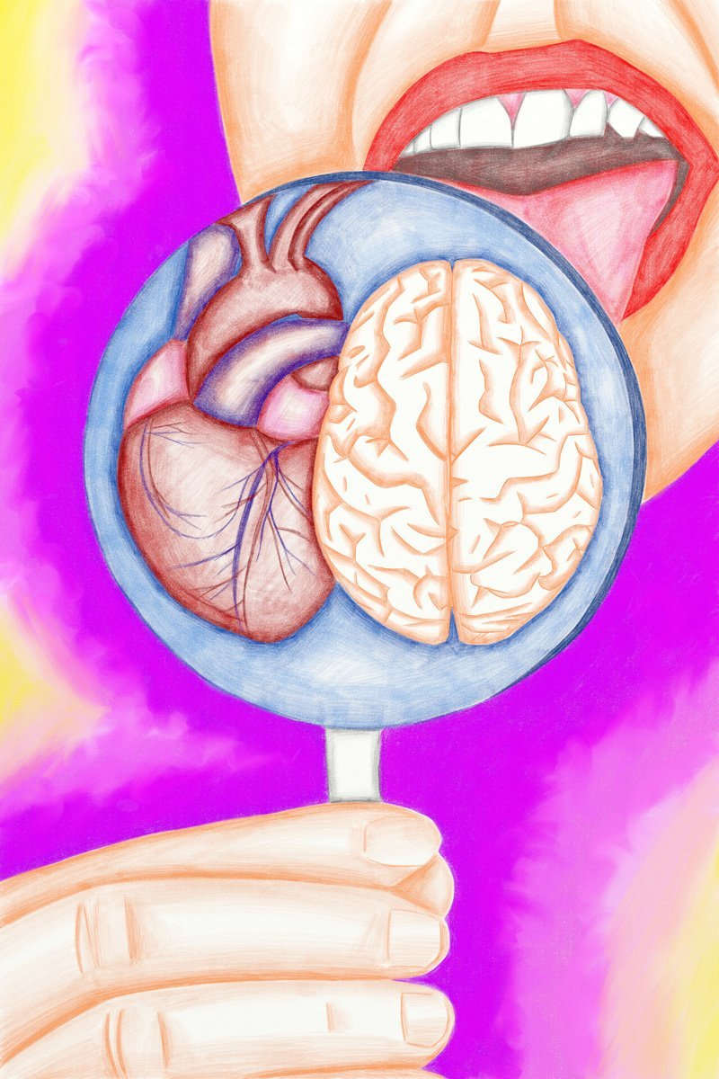 The image shows a piece of artwork by Jina Wallwork. It is a digital drawing of a person licking a lolly that contains heart and mind. Stylistically this piece of artwork has links with surrealism.