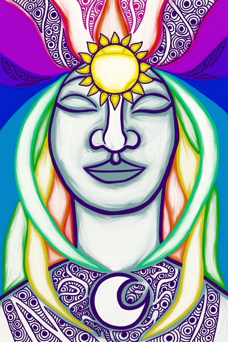 The High Priestess, taken from a set of Tarot cards designed by Jina Wallwork.