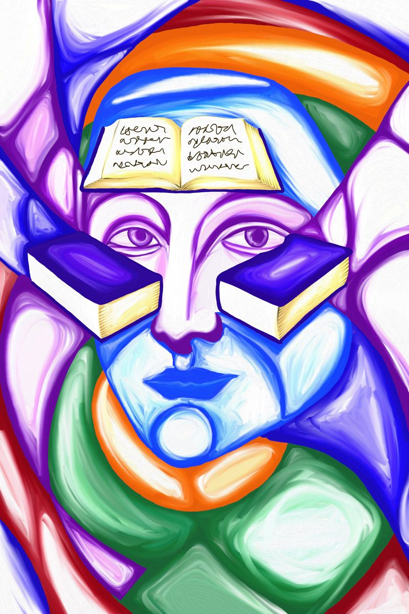 The image shows a piece of artwork by Jina Wallwork. It is a digital painting of a person with books. Stylistically this piece of artwork has links with expressionism.