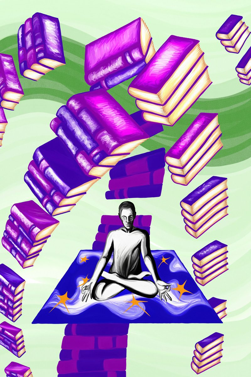 The image shows a piece of artwork by Jina Wallwork. It is a digital painting of a person surrounded by books. Stylistically this piece of artwork has links with expressionism and surrealism.