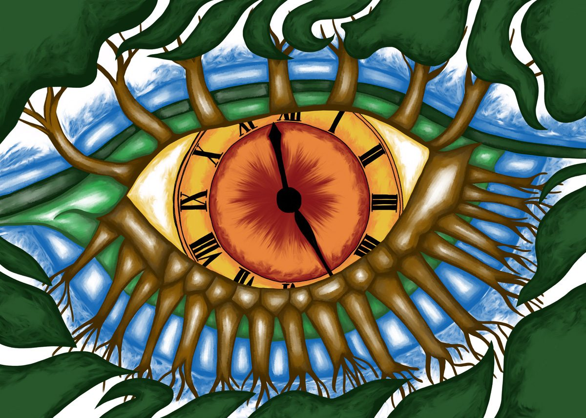 The image shows a piece of artwork by Jina Wallwork. It is a digital painting of an eyeball clock with tree eyelashes. Stylistically this piece of artwork has links with surrealism.
