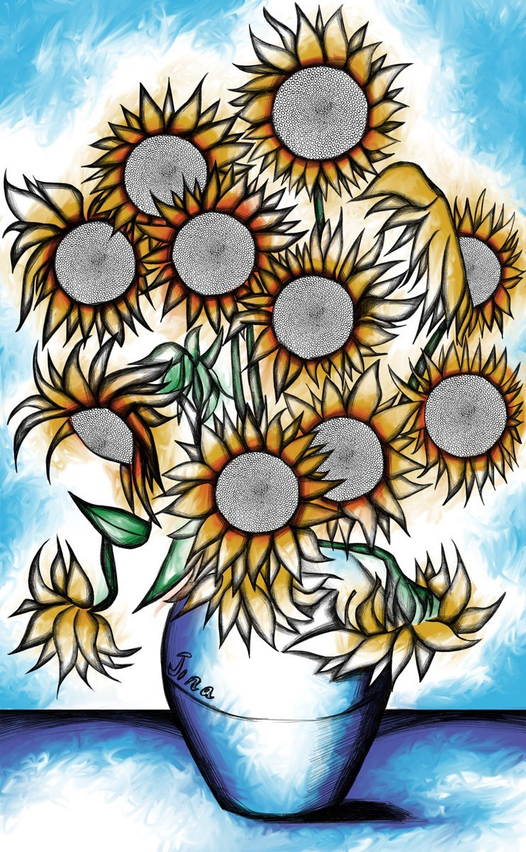 Jina Wallwork's version of The Sunflowers, originally by Van Gogh.