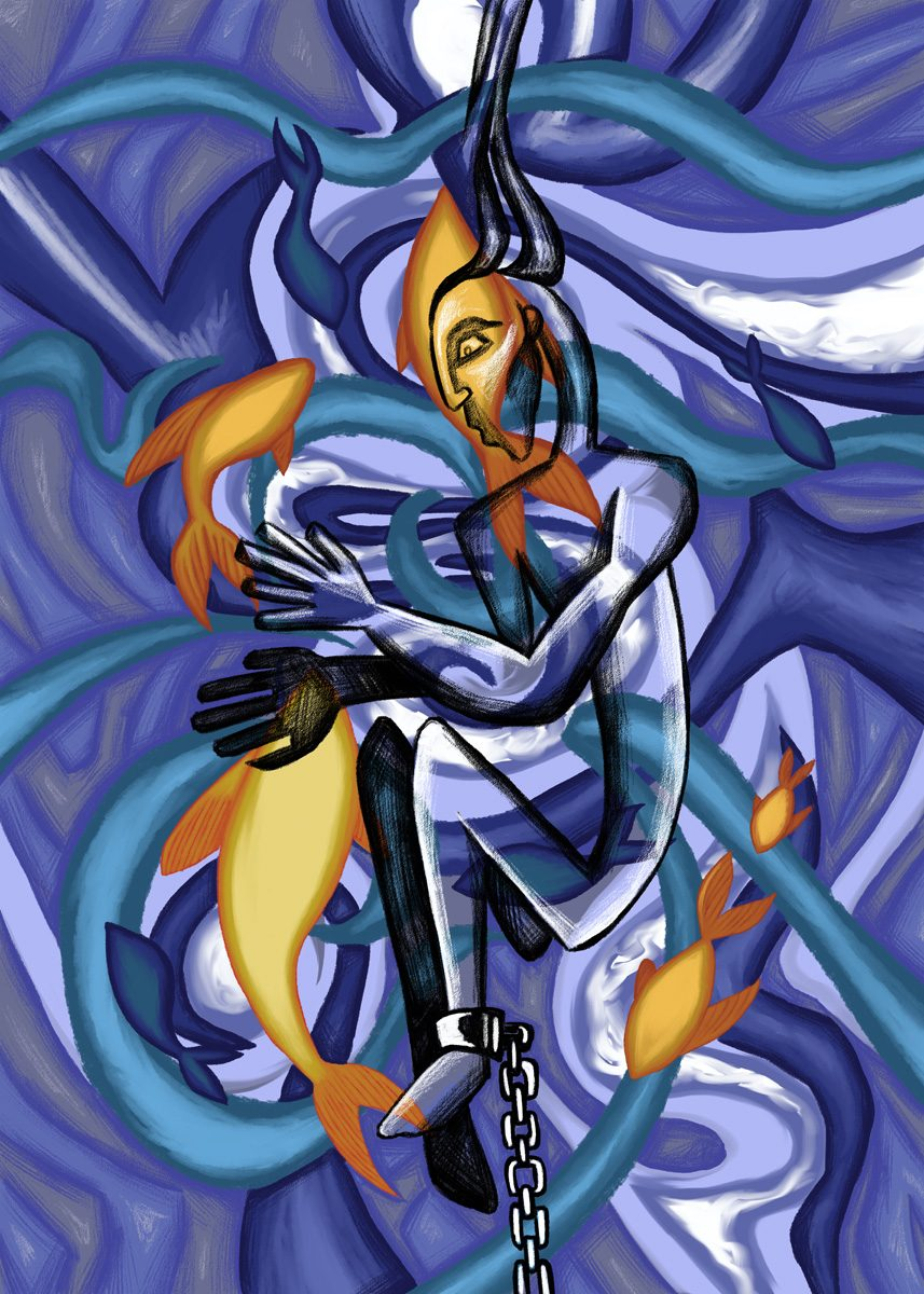 The image shows a piece of artwork by Jina Wallwork. It is a digital painting of a person beneath the sea with fish. Stylistically this piece of artwork has links with expressionism.