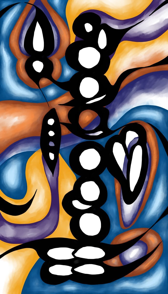 The image shows a piece of artwork by Jina Wallwork. It is a digital painting of clarinet fingering chart. Stylistically this piece of artwork has links with abstract art.