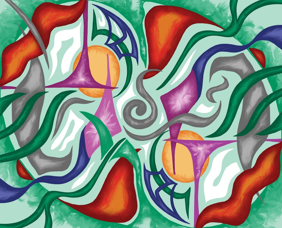 The image shows a piece of artwork by Jina Wallwork. It is a digital painting of abstract subject matter. Stylistically this piece of artwork has links with abstract art.