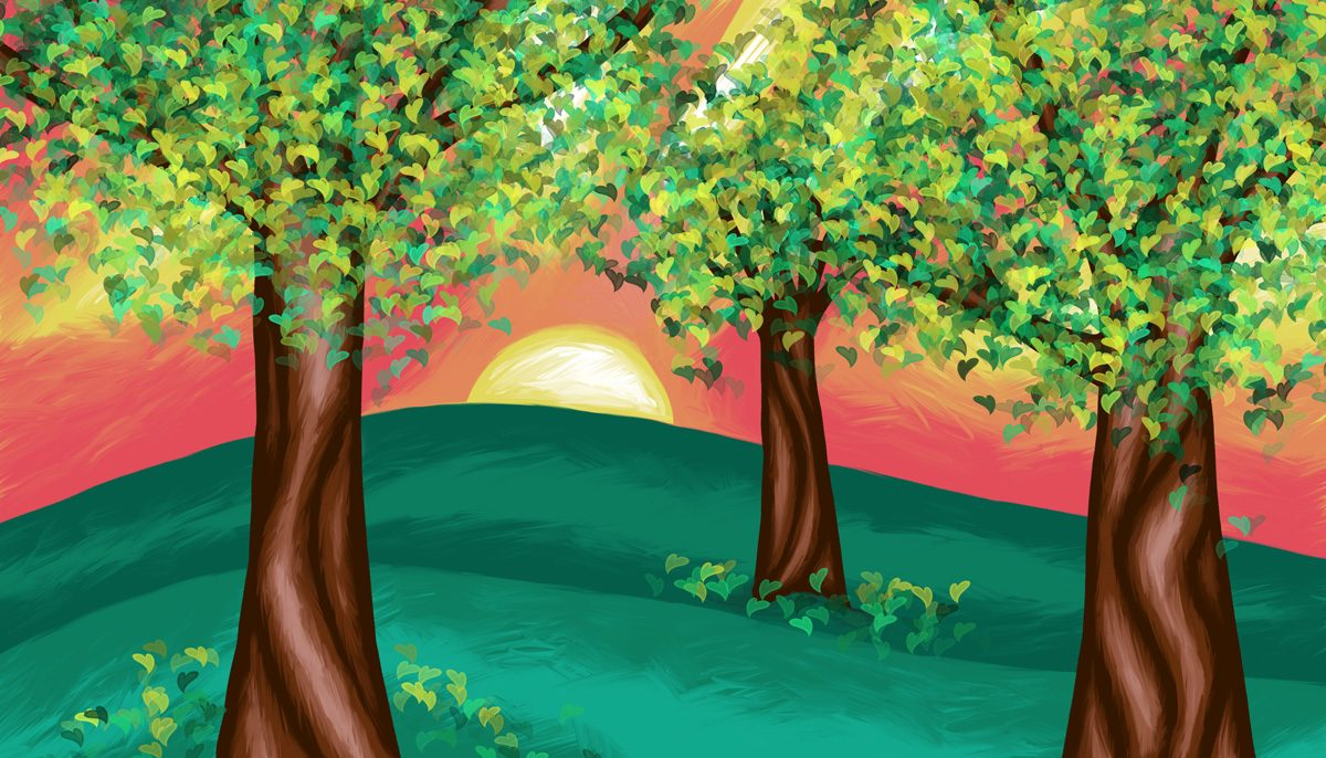 The image shows a piece of artwork by Jina Wallwork. It is a digital painting of trees. Stylistically this piece of artwork has links with expressionism.