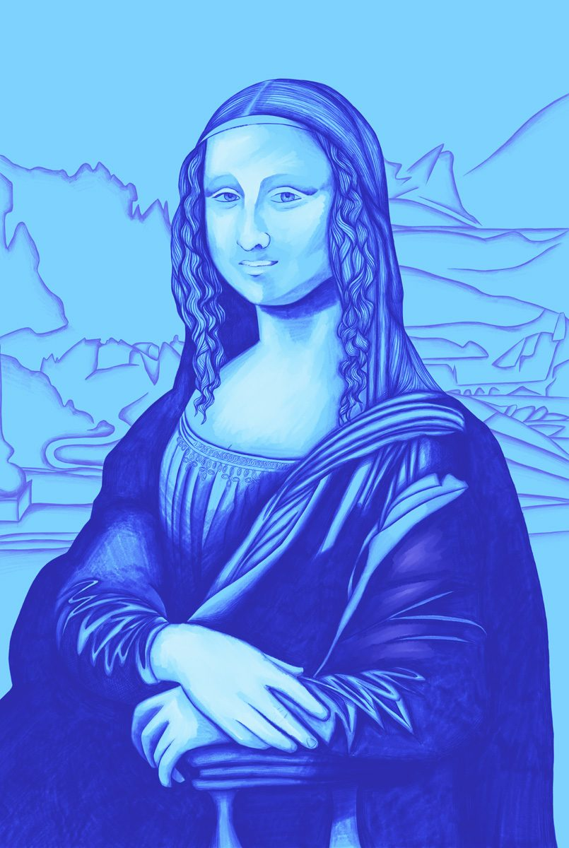 The image shows a piece of artwork by Jina Wallwork. It is a digital painting of the Mona Lisa originally by Leonardo Da Vinci. Stylistically this piece of artwork has links with realism.