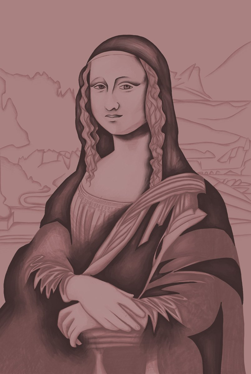 The image shows a piece of artwork by Jina Wallwork. It is a It is a digital painting of the Mona Lisa originally by Leonardo Da Vinci. Stylistically this piece of artwork has links with expressionism and realism.