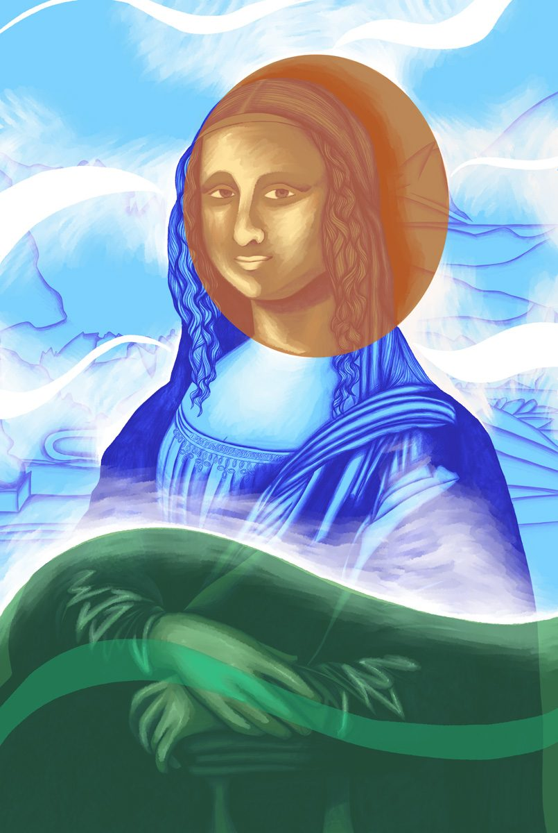 The image shows a piece of artwork by Jina Wallwork.It is a digital painting of the Mona Lisa originally by Leonardo Da Vinci. Stylistically this piece of artwork has links with expressionism.
