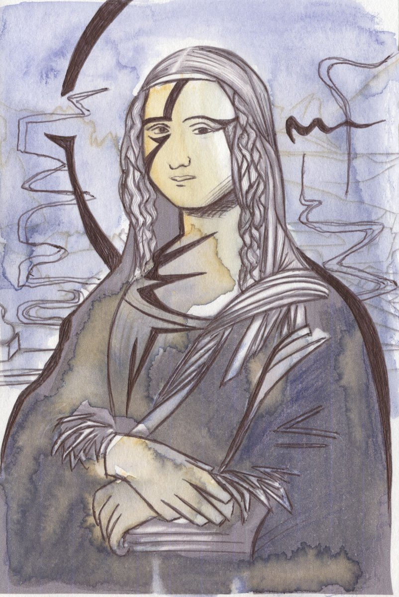 The image shows a piece of artwork by Jina Wallwork. It is a painting and an ink drawing of the Mona Lisa originally by Leonardo Da Vinci. Stylistically this piece of artwork has links with expressionism.