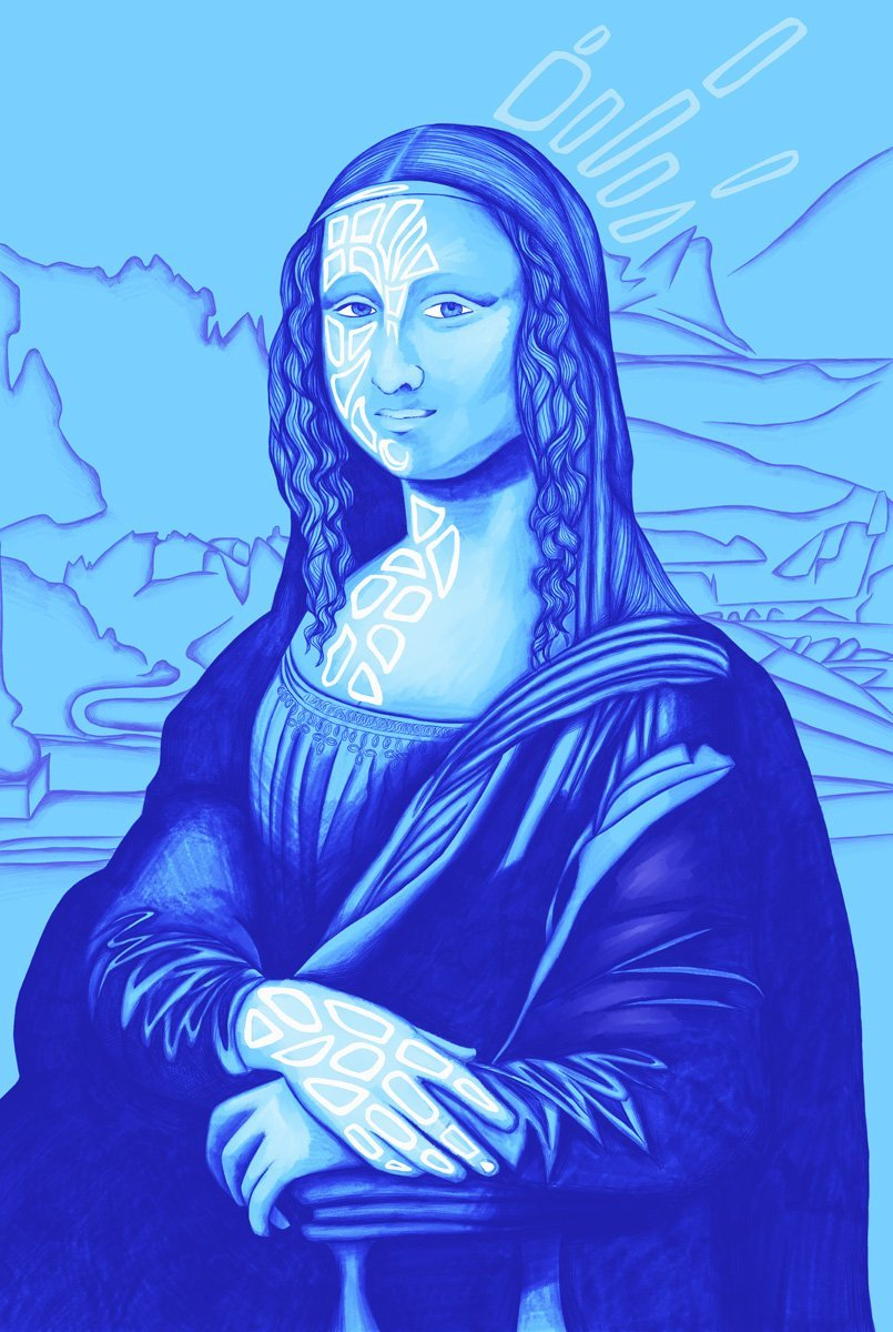 The image shows a piece of artwork by Jina Wallwork. It is a digital painting of the Mona Lisa originally by Leonardo Da Vinci. Stylistically this piece of artwork has links with expressionism.