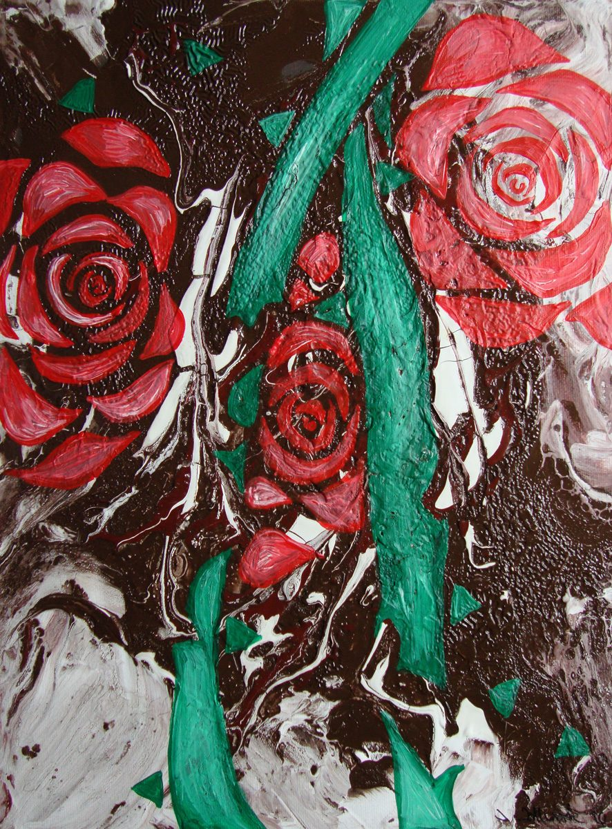 The image shows a piece of artwork by Jina Wallwork. It is a Painting of roses. Stylistically this piece of artwork has links with expressionism.