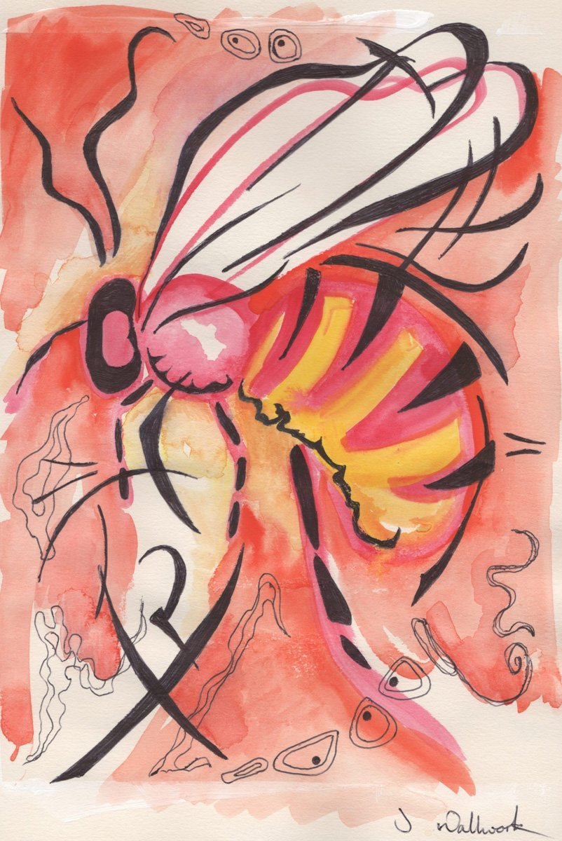 The image shows a piece of artwork by Jina Wallwork. It is an ink and watercolor painting of a bee. Stylistically this piece of artwork has links with expressionism.
