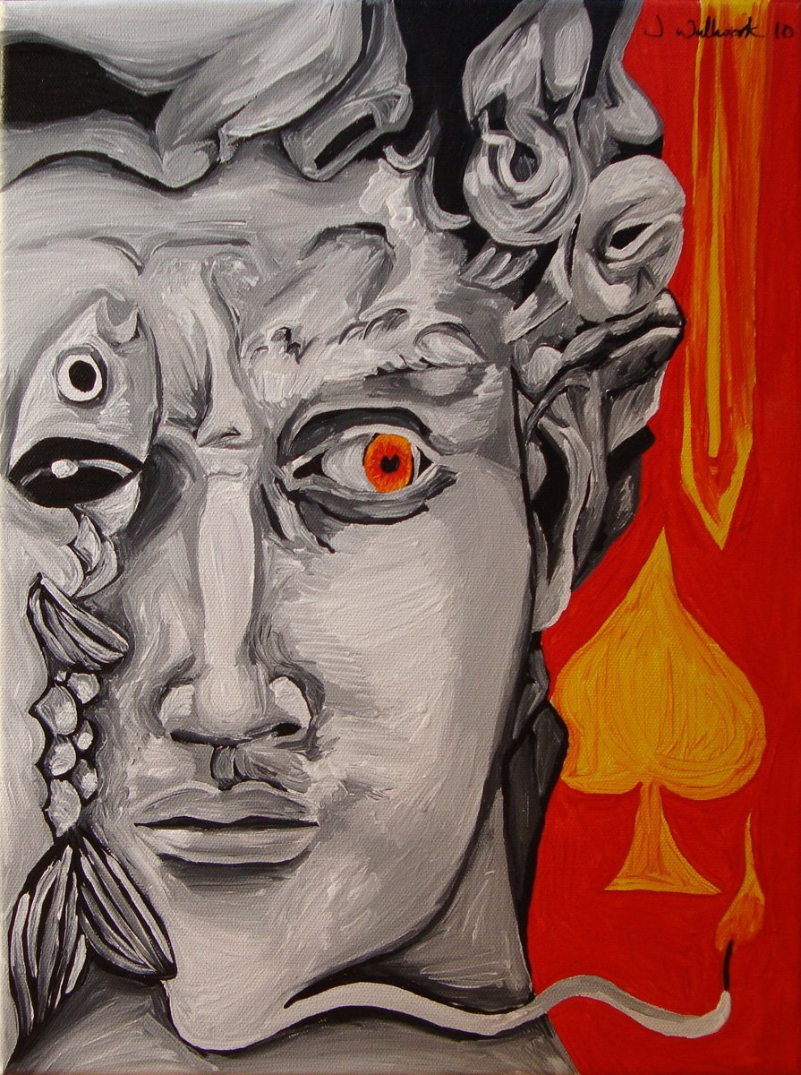 The image shows a piece of artwork by Jina Wallwork. It is a painting of the sculpture of David by Michelangelo and some other objects. Stylistically this piece of artwork has links with surrealism.
