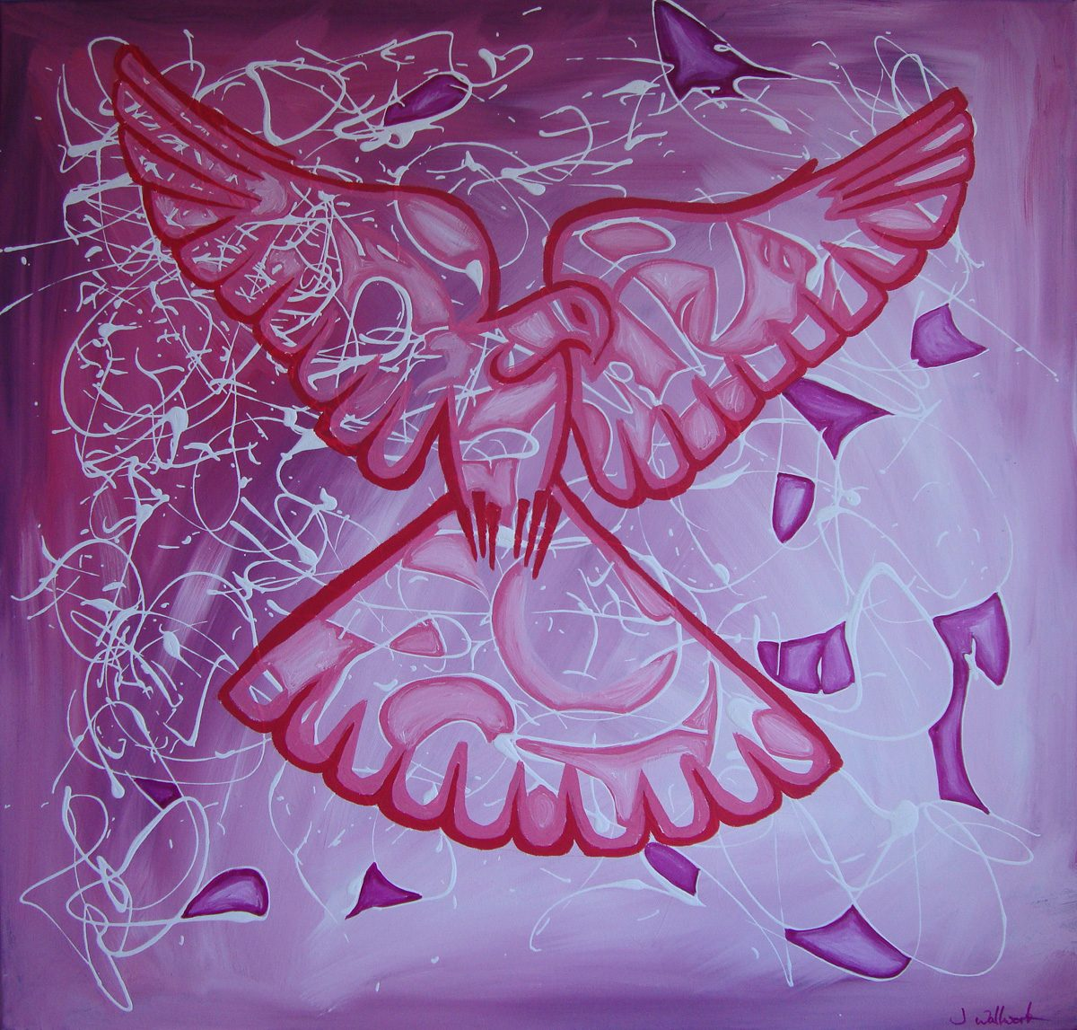The image shows a piece of artwork by Jina Wallwork. It is a Painting of a dove. Stylistically this piece of artwork has links with expressionism.